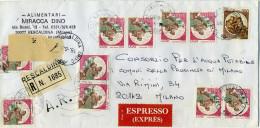 B340 1990 Raccomandata Espresso Con 4 Coppie E 2 Singoli Del 800 Lire + 200 Lire Castelli - 6. 1946-.. Republic