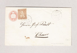 Heimat Schweiz GR PONTE 13.10.1873 Tüblibrief 5Rp Mit 5Rp Sitzende Zusatz Nach Chur - 1862-1881 Sitzende Helvetia (gezähnt)