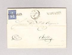 Heimat Schweiz GR MADULEIN Langstempel 8.3.1863 Chur Brief Nach Rietberg GR (Schloss ?) Mit 10Rp Sitzende Helvetia - 1862-1881 Helvetia Assise (dentelés)