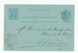 620/24 - NETHERLANDS Postwaardestuk ROTTERDAM 1891 To ATHENS Greece - Uncommon Destination - Entiers Postaux