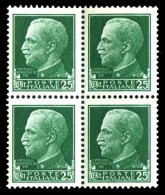 REGNO 1929 Serie Imperiale Effige Di V.E.III Quartina Cent. 25 C. MNH ** Integra - 1900-44 Victor Emmanuel III
