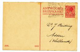 621/24 - NETHERLANDS Postwaardestuk - Answer Part Used From GERARDMER France 1927 To ASSEN - Entiers Postaux