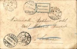 """FRANCE - Oblitération """"  Paris à Bale 1° """" En 1903 Sur Carte Postale Avec étiquette Suisse Non Réclamé - A Voir - L 1201 - Poststempel (Briefe)"""