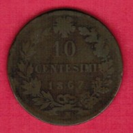 ITALY  10 CENTESIMI 1867 N (KM # 11.4) - 1861-1946 : Kingdom