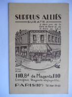 """Calendrier Publicitaire 1952 """"Surplus Alliés Suratex"""" - Calendriers"""