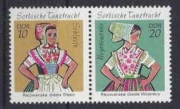 Germany (DDR) 1971 Sorbische Madchen-Tanztrachen (**) MNH  Mi.1723-1724 - [6] Democratic Republic