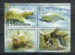 International Polar Year 2007-2008. Un Bloc De 4  Timbres Neufs ** (ours Blanc,skuas & Penguins) - Ours