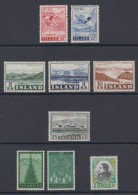 1957 ** Islande (sans Charn., MNH, Postfrish) Complete Yv 272/80  Mi 314/22  FA 348/56  (9v) - Island