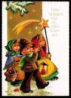 5954 - Alte Glückwunschkarte - Weihnachten Sternensinger Kinder - Noël