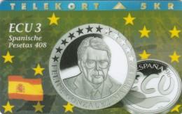 Denmark, P 053B, Ecu - Spain, Coins, Flag, Mint Only 700 Issued, 2 Scans. - Denmark