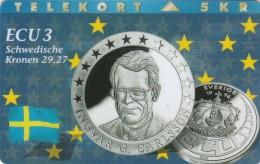 Denmark, P 054B, ECU-Sweden,  Mint, Only 700 Issued, Coin, Flag, 2 Scans. - Denmark