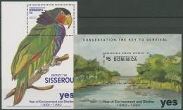 Dominica 1991 Umweltschutz: Strand, Papagei Block 196/97 Postfrisch (C71380) - Dominica (1978-...)