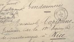 Oblitération INFANTERIE 29e DIVon Du 5 Nov 14 Sur Env Franchise Militaire GENDARMERIE 29e Div D'Infanterie - Marcofilia (sobres)