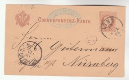 1878 Linz AUSTRIA Postal STATIONERY CARD  To Nurnberg GERMANY Stamps Cover - Stamped Stationery