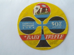 Ancienne étiquette Fromage   Lorraine Meuse  Ets Henri HUTIN 55W Lacroix Sur Meuse  Baby Trèfle  Vache Carte à Jouer - Fromage