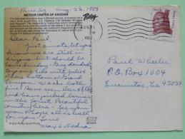 "USA 1983 Postcard ""Meteor Crater, Arizona"" To Encinitas - Crazy Horse Indian - Etats-Unis"