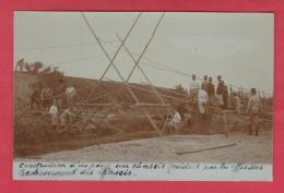 Construction D'un Pont Par Des Officiers - Redressement Des Châssis - Carte Photo Non Située ( Voir Verso ) - Maniobras