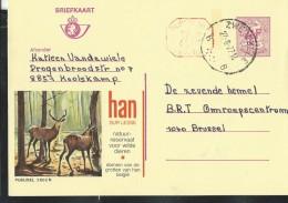 Publibel Obl. N° 2602 + P 016 ( HAN/ Lesse, Cervidés) Obl: Zwievezele 22/08/1977 - Stamped Stationery