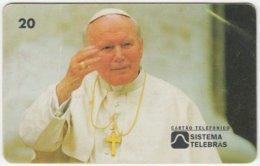 BRASIL B-544 Magnetic Telebras - Pope John Paul II. - Used - Brésil
