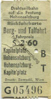 Österreich - Drahtseilbahn Auf Die Festung Hohensalzburg - Fahrschein Rückfahrkarte Berg- Und Talfahrt - Treni