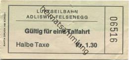 Luftseilbahn Adliswil-Felsenegg - Fahrkarte Talfahrt Halbe Taxe Fr. 1.30 - Treni