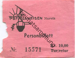 Narvik A/S Fjellheisen - Luftseilbahn - Personbillett - Fahrschein Kr. 10,00 - Treni