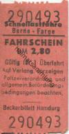 Berne Farge - Schnellastfähre - Fahrschein DM 2,80 - Carte D'imbarco Di Navi