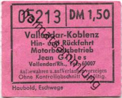 Vallendar-Koblenz - Hin- Und Rückfahrt - Motorbootsbetrieb Jean Gilles - Fahrschein DM 1,50 - Carte D'imbarco Di Navi