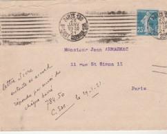 Yvert 140 Semeuse Sur Lettre Cachet Flamme Paris 120 Bd St Germain 195 28/1/1921 Pour Paris - Covers & Documents