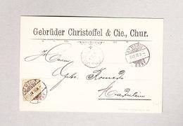 Heimat Schweiz GR St MORITZ 9.9.1896 BAD Postkarte Nach Madulein Mit 2Rp Wertziffer - 1882-1906 Armoiries, Helvetia Debout & UPU