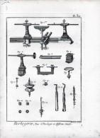 CHROMO Gravure XVIIIème Benard Direxit Horlogerie Tour D'horloger Et Différens Outils (5 Gravures) - Prenten & Gravure