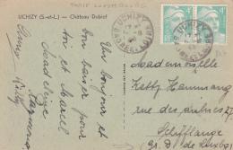 GANDON N°807 4f PAIRE Obl 16/8/48 Sur CP AU TARIF RELATION LUXEMBOURG > Schifflange - RARE ! - Saône Et Loire - Postmark Collection (Covers)