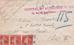 """Griffe HOPITAL Mre AUXILIAIRE N°228 PARIS Rue Du Mont Thabor """" Sur Lettre PNEUMATIQUE Obl Semeuse 138 - WW1 - Marcofilia (sobres)"""