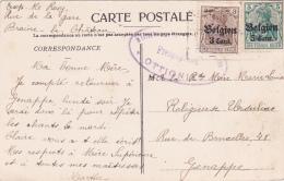 Germania BELGIEN 3c + 5c + CENSURE OTTIGNIES  Sur CP De Braine Le Chateau > Genappe - Weltkrieg 1914-18
