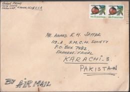 USA Airmail 1987 22c Greetings Christmas Ornament Postal History Cover Sent To Pakistan. - Brieven En Documenten