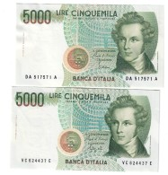 5000 Lire Vincenzo Bellini A 1985 + C 1992 Sup/fds LOTTO 824 - [ 2] 1946-… : Repubblica