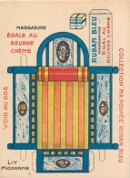 """Carton Publicitaire Ruban Bleu Margarine Egale Au Beurre Crème - Collection """" Ma Poupée """" Lit Moderne à Découper ....... - Advertising"""