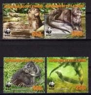 Cote D'Ivoire 2005 WWF Lontra Dal Collo Macchiato Otter Nutria Loutre 4 Stamps Mint - W.W.F.