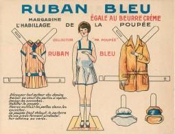 Carton Publicitaire Ruban Bleu Margarine Egale Au Beurre Crème Collection Ma Poupée L'Habillage De La Poupée à Découper - Advertising