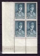 BLOC DE QUATRE  N* 471 ( Numéroté 71151) NEUF** - 1941-42 Pétain