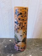 050 - Vase Verre Peint – Décor Lacustre Coucher De Soleil - Signé - Glas & Kristall