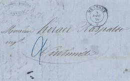 AV33 Lettera In Porto Assegnato 4.12.1859 MENTONE Nell'ultimissimo Periodo SARDO - Sardinien