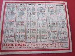 1952 CALENDRIER PETIT FORMAT CASTEL-CHABRE COURS LAFAYETTE TOULON - Petit Format : 1941-60