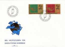 LIECHTENSTEIN FDC 1974 - 40+60 Rp (Ank607+608) Auf Brief Mit Ausgabestempel