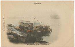 Tonkin Viet Tri 513 Vue De La Riviere Claire Coll. Moreau Hand Colored Couleur Bateau à Aube Paddle Boat - Viêt-Nam