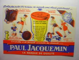 BUVARD ANCIEN - MOUTARDE PAUL JACQUEMIN AVEC DEFAUT D´IMPRESSION Mustard Football Appareil Photo Patin Roulettes Montre - Mostard