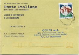 B593 1995 Avviso Di Ricevimento Con 750 Lire Castelli - 6. 1946-.. Republic