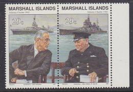 Marshall Islands 1991 Roosevelt - Churchill 2v Se Tenant ** Mnh (31782) - Marshallinseln