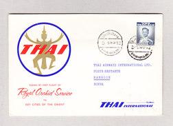 Thailand 2.5.1960 Bangkok Erstflug THAI ROYAL ORCHID SERVICE Nach Rangoon Burma - Thaïlande