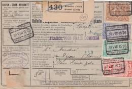 BELGIQUE CHEMINS DE FER BULLETIN D'EXPEDITION COLIS POSTAUX 1926 GARE BRUXELLES  GRIFFE FRANCO TOUS FRAIS DOMICILE/6000 - Briefe U. Dokumente